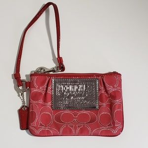 Coach Poppy Red Wristlet Leather Trim